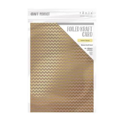 Craft Perfect - Foiled Kraft Card - Golden Zig Zag - A4 (5/pk)
