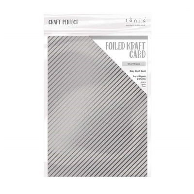 Craft Perfect - Foiled Kraft Card - Silver Stripes - A4 (5/pk)