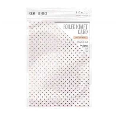 Craft Perfect - Foiled Kraft Card - Rose Gold Hearts - A4 (5/pk)