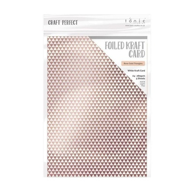 Craft Perfect - Foiled Kraft Card - Rose Gold Triangles - A4