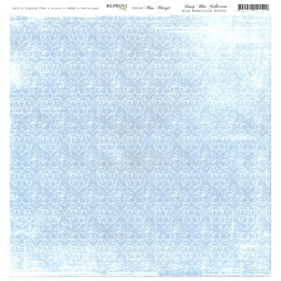 Reprint - Dusty Blue Collection, Blue Medallions