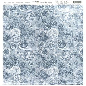 Reprint - Dusty Blue Collection, Big Roses
