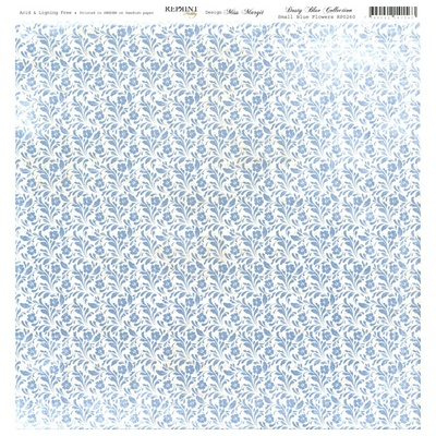 Reprint - Dusty Blue Collection, Small Blue Flowers