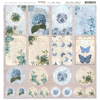 Reprint - Dusty Blue Collection, Dusty Blue Tags