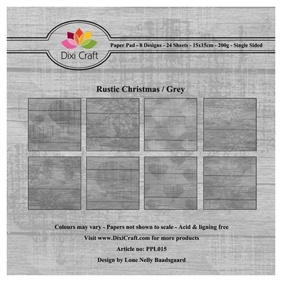 "DIXI CRAFT PAPIRSBLOK 15X15CM ""Rustic Christmas - Grey"""