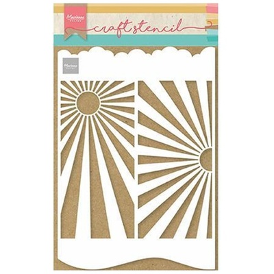 MARIANNE DESIGN CRAFT STENCIL PS8080 Slimline Sunburst - A4